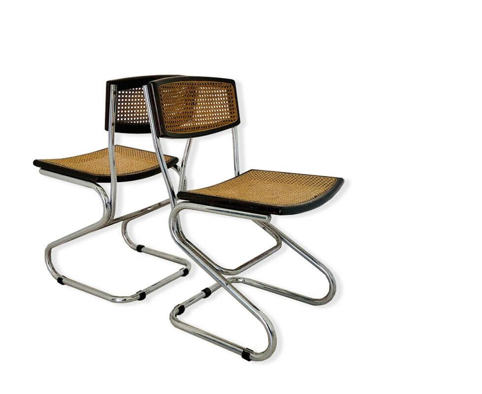 sedie design anni 60 70 industrial ufficio vintage il bello dell'usato è a tua completa coppia sedie vintage uso ufficio / abitazione, in legno e velluto blu scurocondizioni generali buoneritiro a mano. Coppia Di Sedie Stile Cesca Vintage Anni 70 Old Era