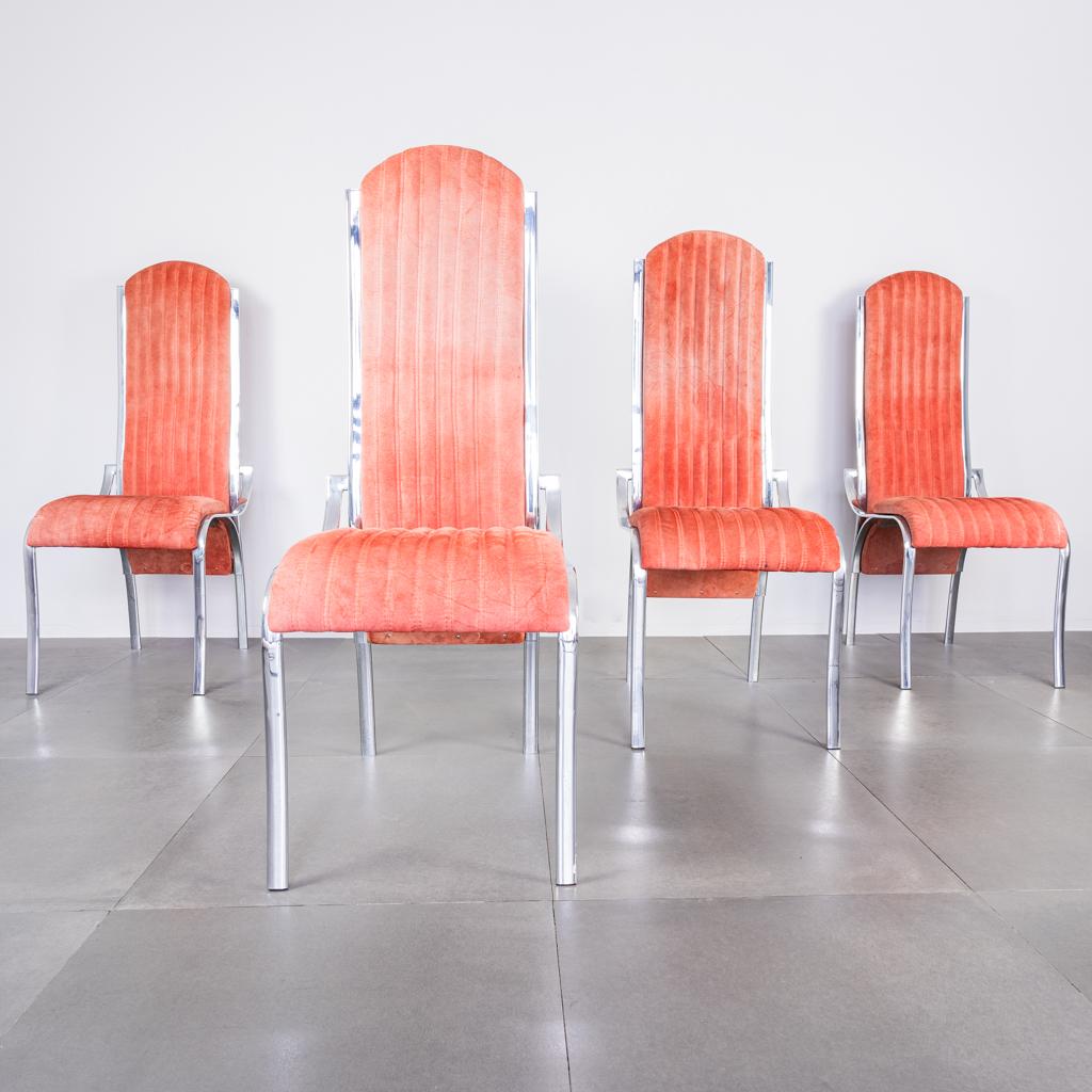 Ideali come sedie da soggiorno o sedie sala da pranzo. Set Quattro Sedie Alcantara Metallo Anni 70 Vintage Modernariato Old Era