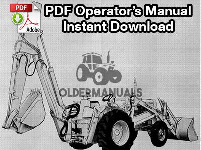 Case Model 33 Backhoe Operator's Manual