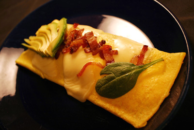 Bacon Avocado and Swiss Omelet
