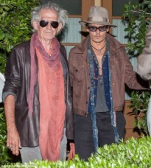 Rolling Stones guitarist Keith Richards, left, and actor Johnny Depp together May 22 at an L.A. restaurant. Depp is sporting a pair of Old Focals Rockers.
