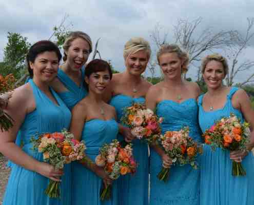 Bridesmaid Bouquets at Wedding Deck