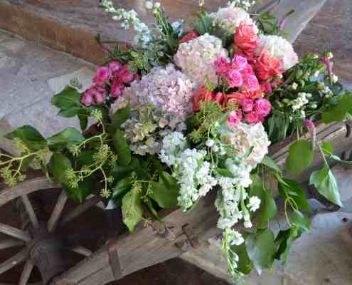 Wedding Floral in a Wheelbarrow