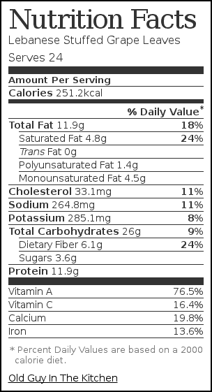 Nutrition label for Lebanese Stuffed Grape Leaves