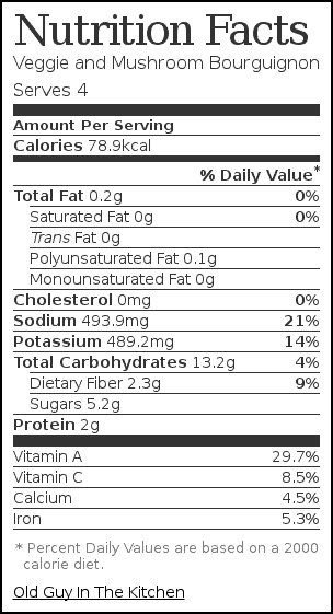 Nutrition label for Veggie and Mushroom Bourguignon
