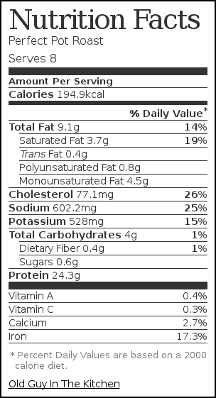 Nutrition label for Perfect Pot Roast