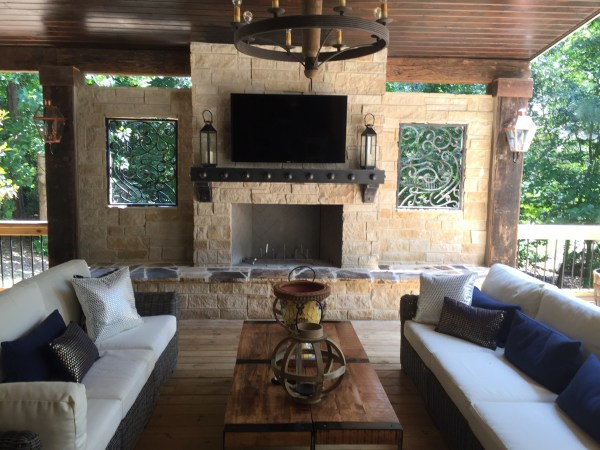 outdoor living space with fireplace Atlanta Outdoor Fireplaces | Outdoor Kitchens | Old Hat