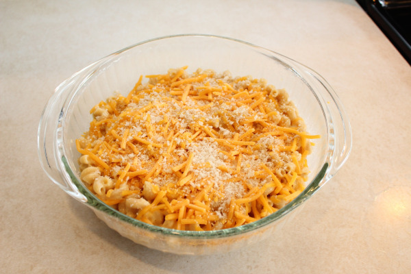 Homemade Macaroni and Cheese Assembled in Casserole Dish