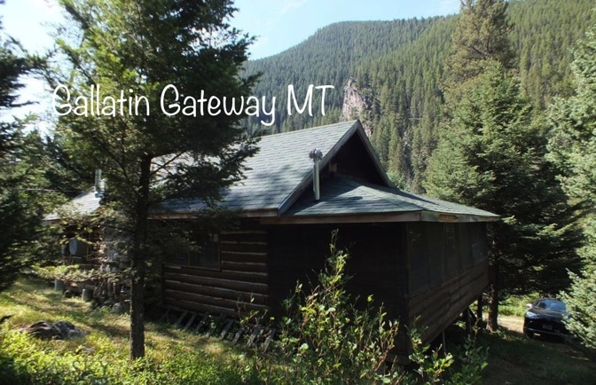 c.1916 Log Cabin For Sale on Leased Land in Gallatin Gateway MT Under $95K