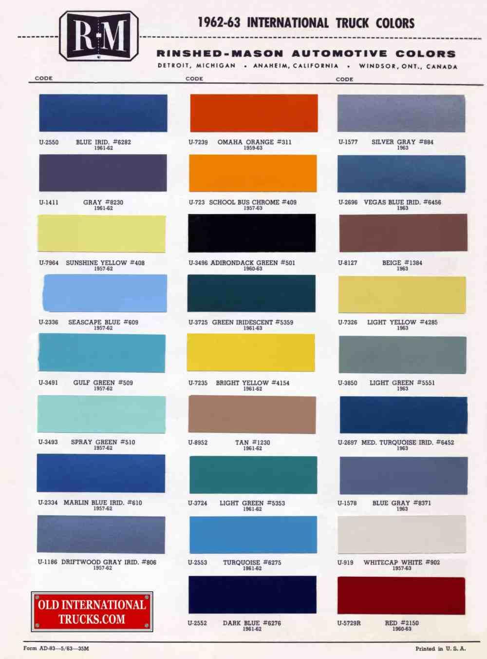 medium resolution of 1962 1963 color chart