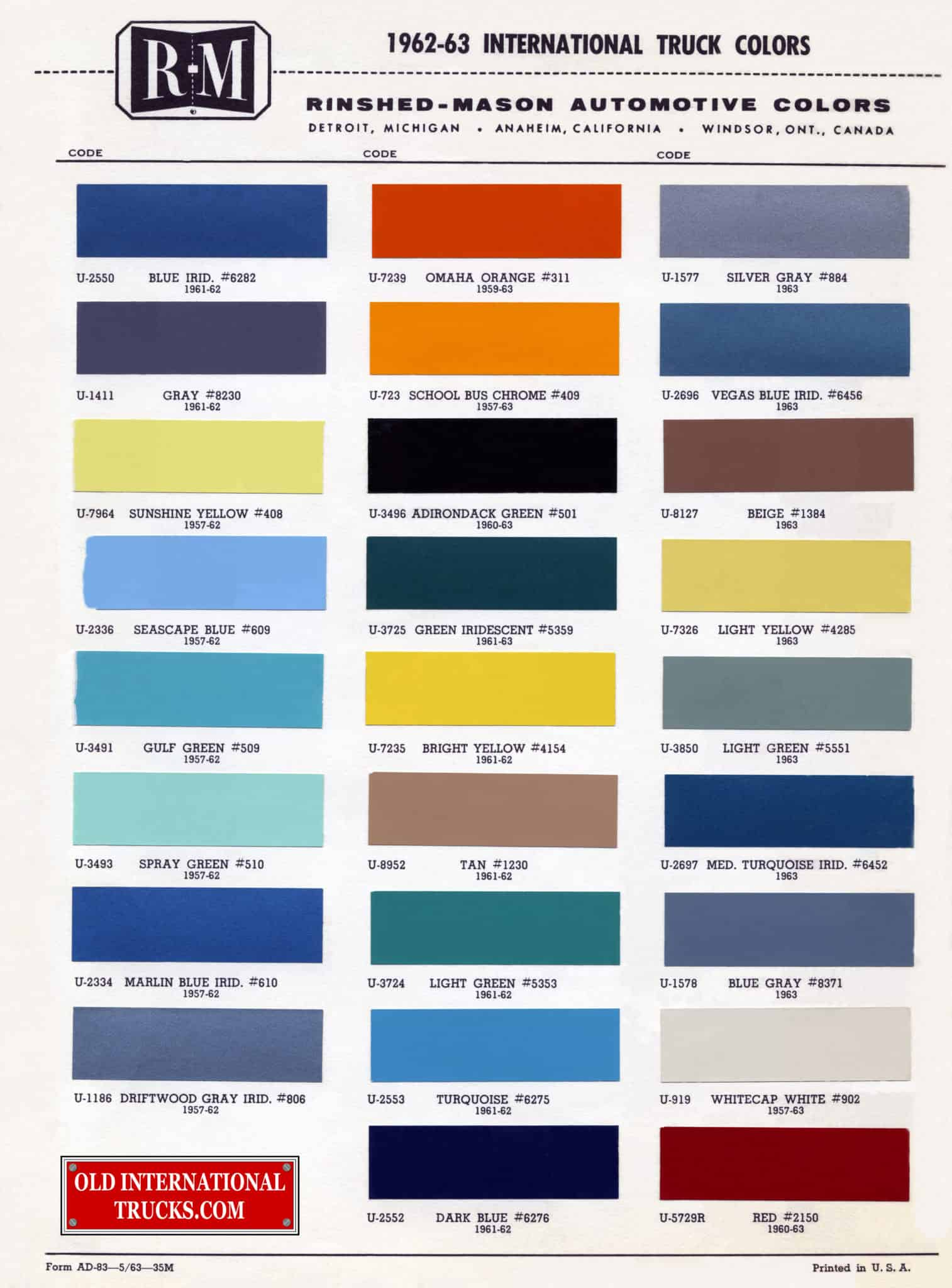 hight resolution of 1962 1963 color chart