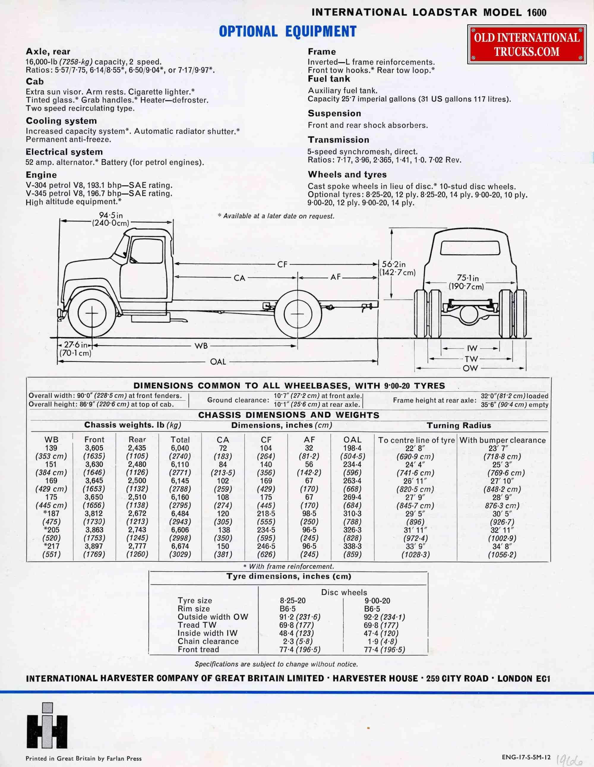 hight resolution of international loadstar 1700 wiring diagrams wiring libraryinternational loadstar 1600 optional equipment from great britain