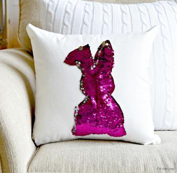 Mermaid sequin bunny pillow