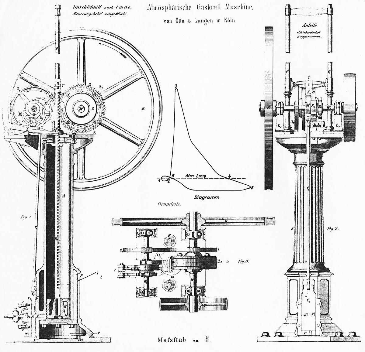 hight resolution of otto langen 1866 drawing