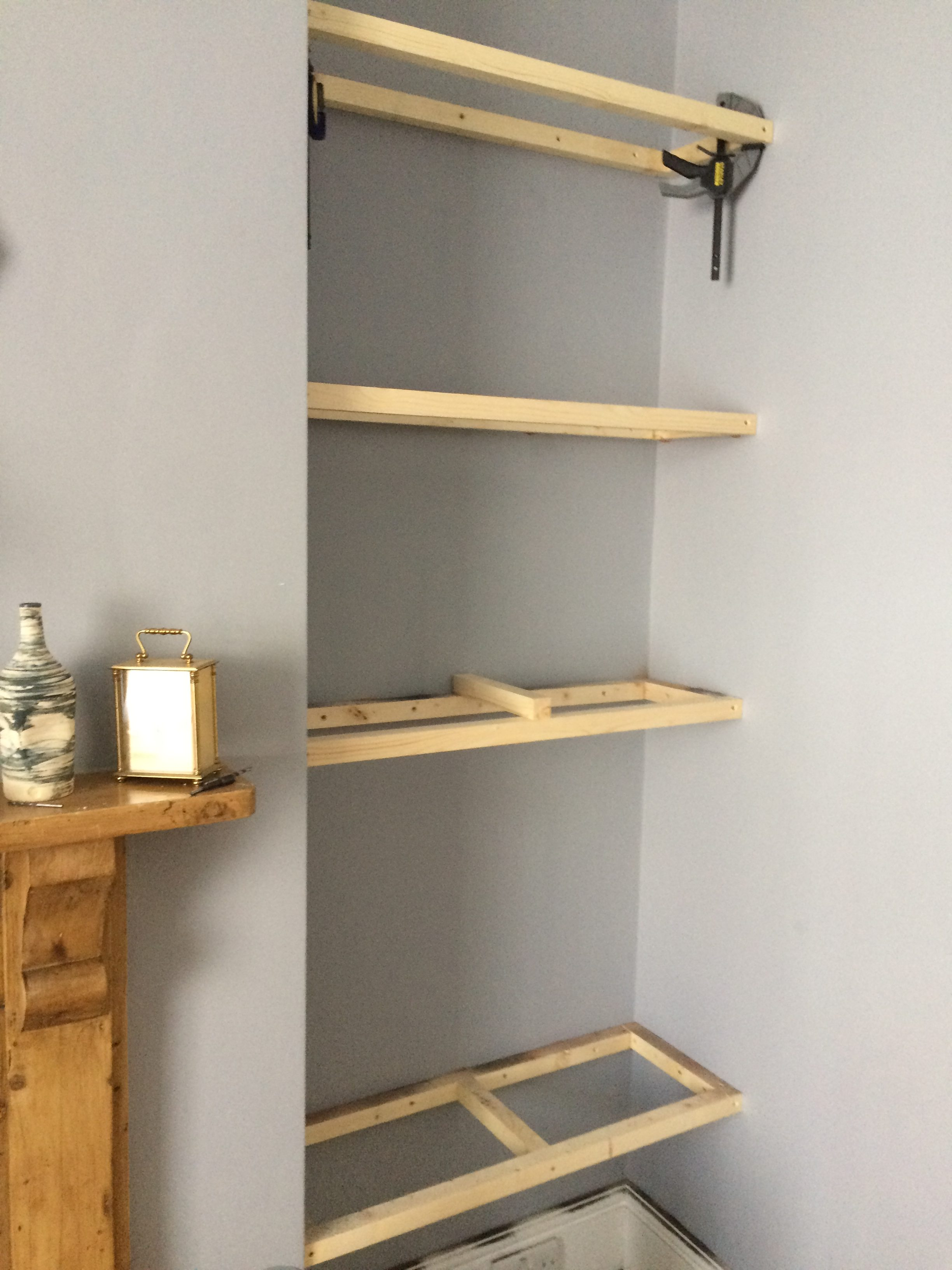 How to Build Floating Shelves in an Alcove - Old Man Grumbling