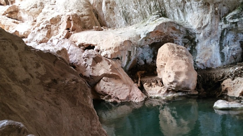 Hiking in Arizona. Tonto Natural Bridge. Old Man Hiking.