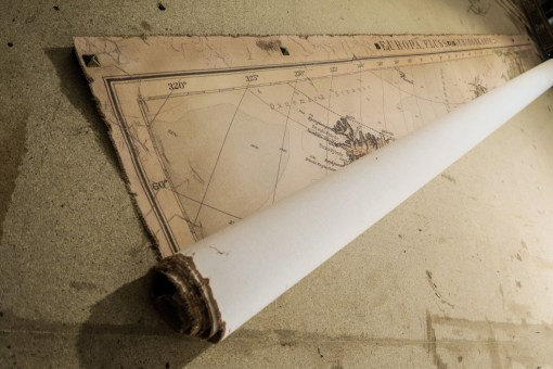 europa vintage map rolled