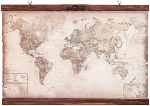 world map wooden frame