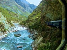 The train route between the Sacred Valley and Aguas Clientes is absolutely stunning. No cars pass this way, and the valley along the Urubamba River is cut for the railroad only.