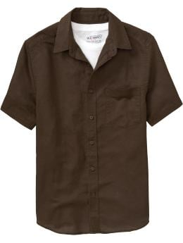 Men: Men's Tall Linen-Blend Shirts - Dark Roast Coffee