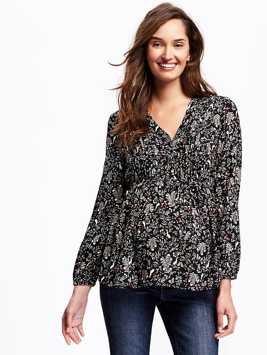 Old Navy Maternity Pintuck V Neck Top Size XS - Black floral