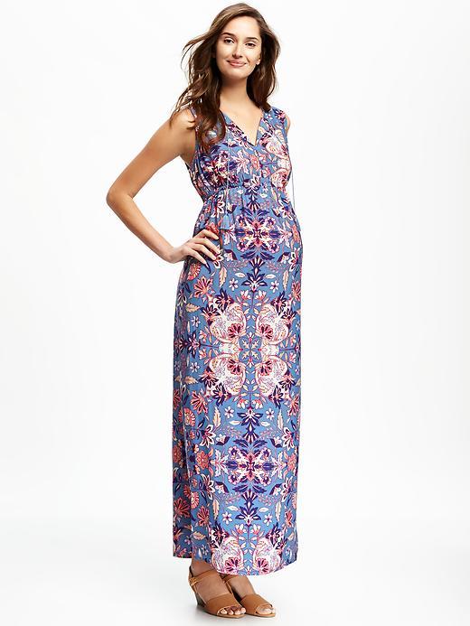 Old Navy Maternity Printed Boho Maxi Dress Size M - Light blue print