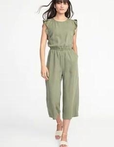 Waist defined tencel flutter sleeve jumpsuit for women also size chart  guide old navy rh oldnavy