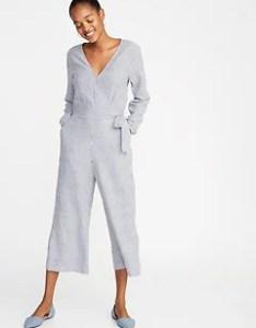 Waist defined linen blend striped jumpsuit for women also size chart  guide old navy rh oldnavyp
