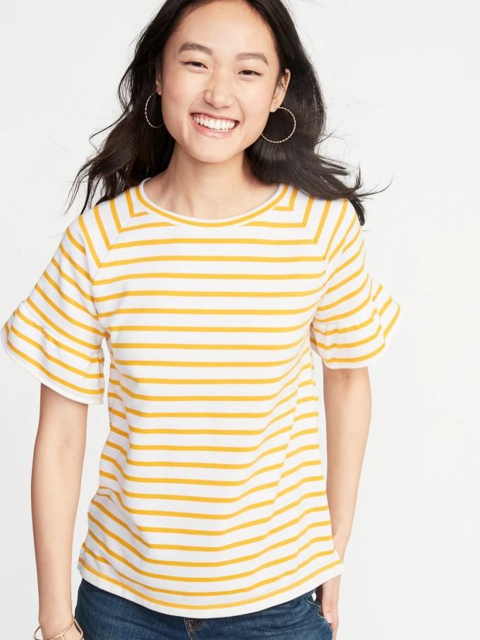 French Terry Ruffle-Sleeve Sweatshirt for Women