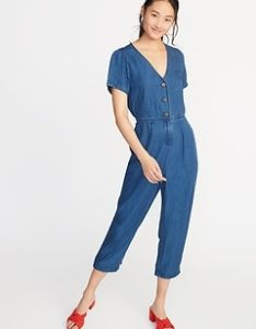 Chambray  neck button front jumpsuit for women also size chart  guide old navy rh oldnavyp