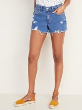 Mid-Rise Distressed Boyfriend Jean Cut-Off Shorts for Women - 3-inch inseam