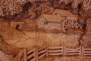 close up of dylan goodson's carving of the mabry mill