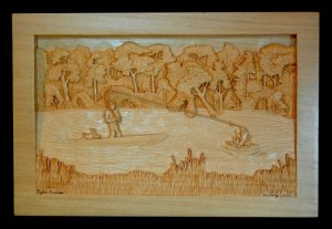 pictorial relief scene of a pond with a man in a boat catching a fish