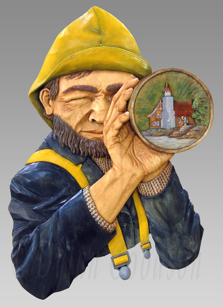 Relief carving of a fisherman or seafarer looking through a spyglass. Reflected in the spyglass lenses is a lighthouse