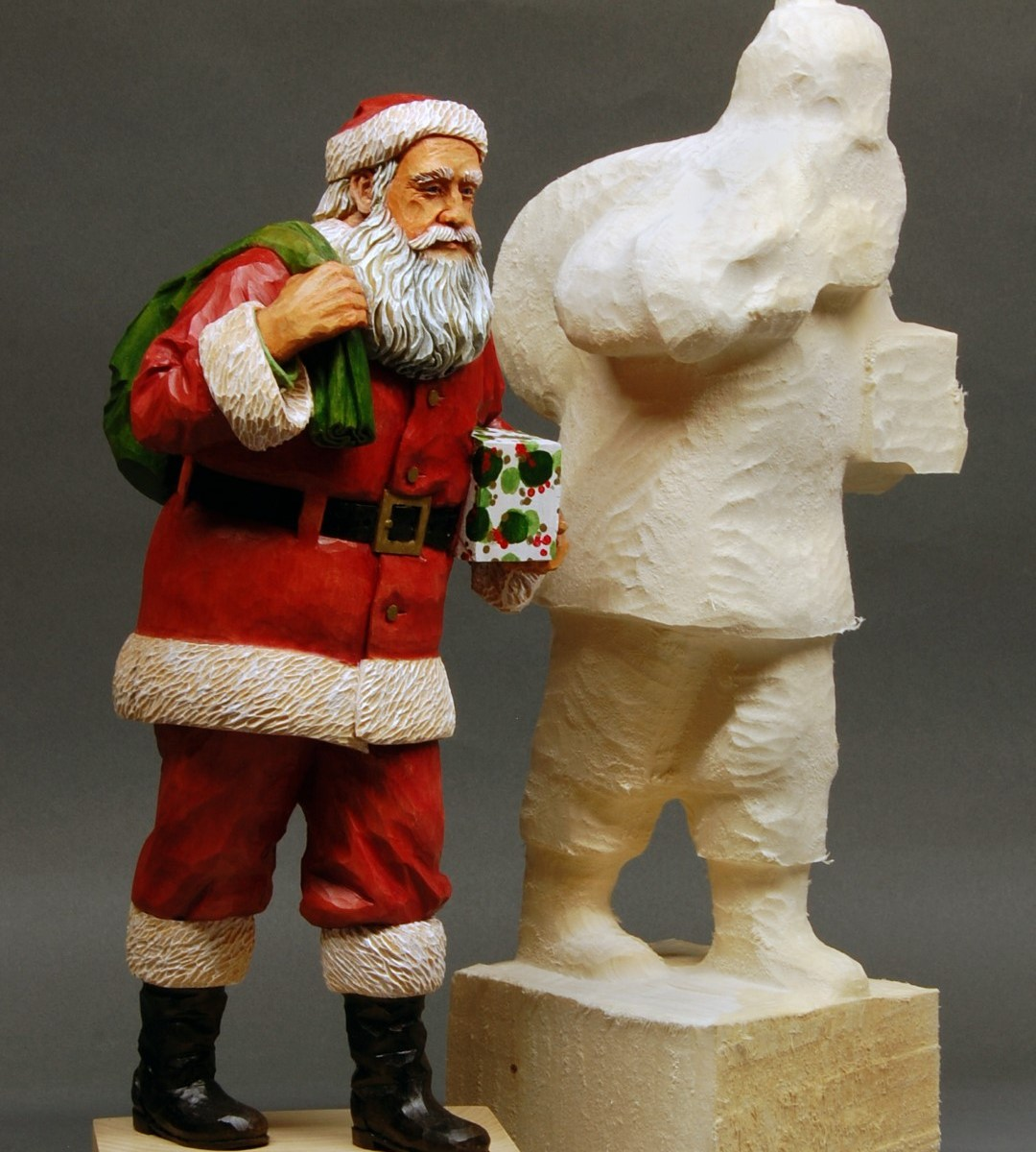 Santa carving and Santa Roughout