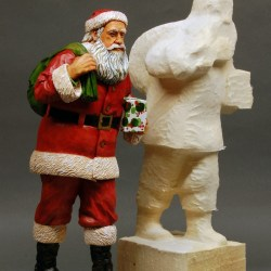 Santa carving and Santa Roughout