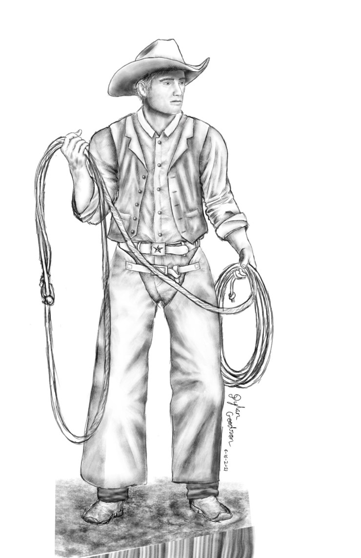drawing of a cowboy holding a rope