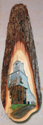 Dylan Goodson's relief carving of the Quincy Mine Shaft house #2