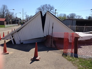 Roley school bridge destroyed