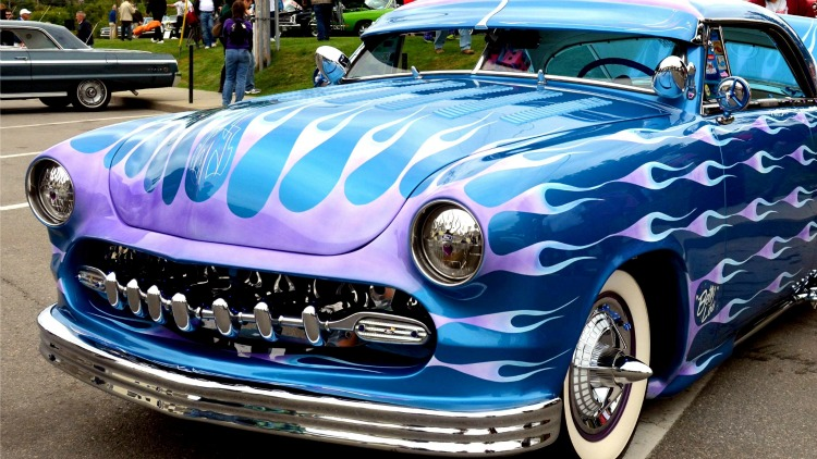 car show classic flames car