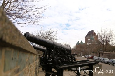 Canons in Vieux-Québec with Château Frontenac in the background, Québec City, QC