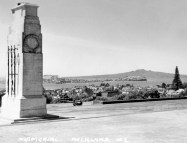 Auckland: The Cenotaph at the Auckland War Memorial Museum, looking north with Devonport and Rangitoto Island in the distance