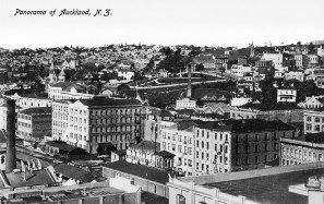 Looking south east from Ferry Building over city to Parnell (left distance), showing premises of A H Nathan, A J Entrican, Brown Barrett and Company, W H Hart, A S Patterson, P Hayman, Briscoe and Company in Customs Street East (foreground), W Gunson and Company, John Schischka and Admiralty House (left), Emily Place (centre, middle distance), and Auckland Institute and Museum (centre right, distance) on Princes Street