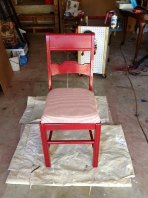 Here it is painted red with a new cushioned seat.