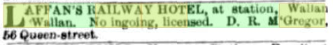 Laffan's Railway Hotel - For Lease advertisement. The Argus - August 24th, 1874