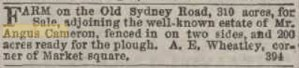 Estate of Angus Cameron. Kilmore Free Press - March 15th, 1855