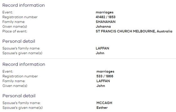 Marriages of John Laffan
