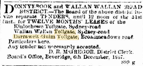 The Age - 9th December 1867. Lease of tollgate for tender. Tender won by John Sutherland.