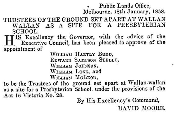 Trustees of Presbyterian School - Victoria Govenment Gazette - January 22nd, 1858