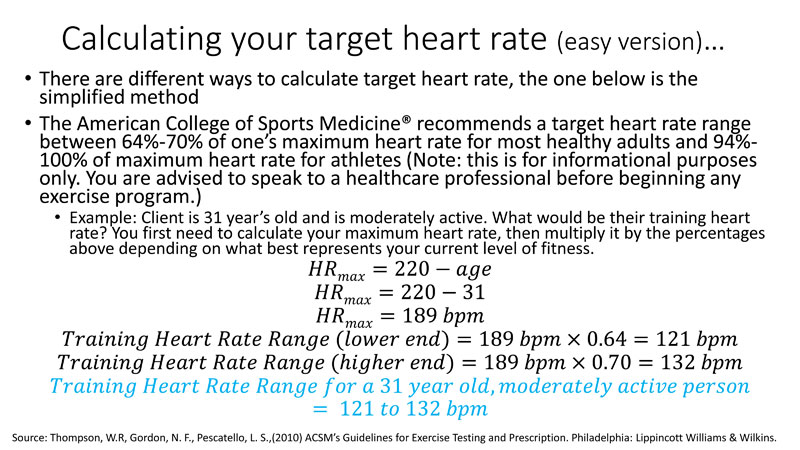 Calculating your target heart rate